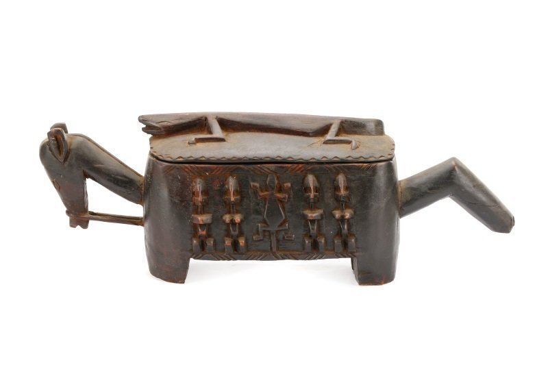 Dogon Carved Horse Form Large Wooden Box