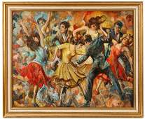 "Samuel Jafnel, ""Untitled (Dance Hall)"", Oil"