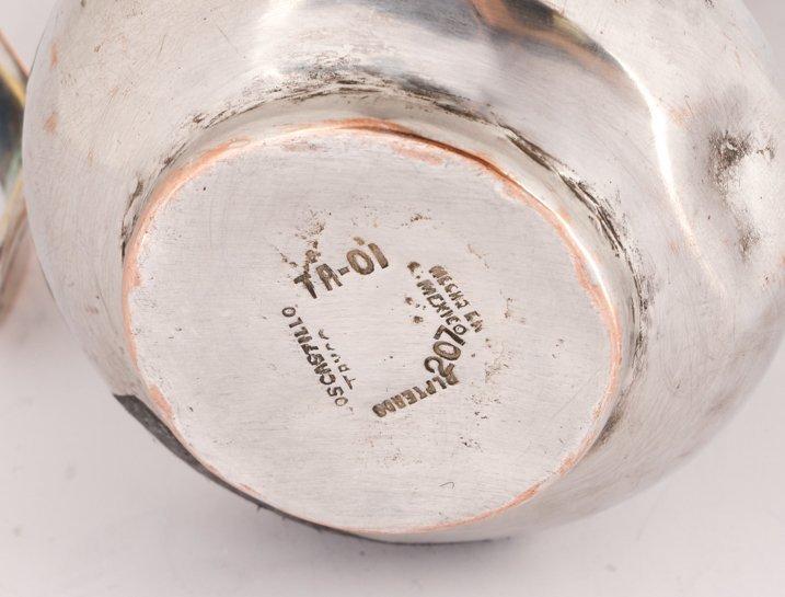 Los Castillo Inlaid Silver Plate Cream and Sugar - 5