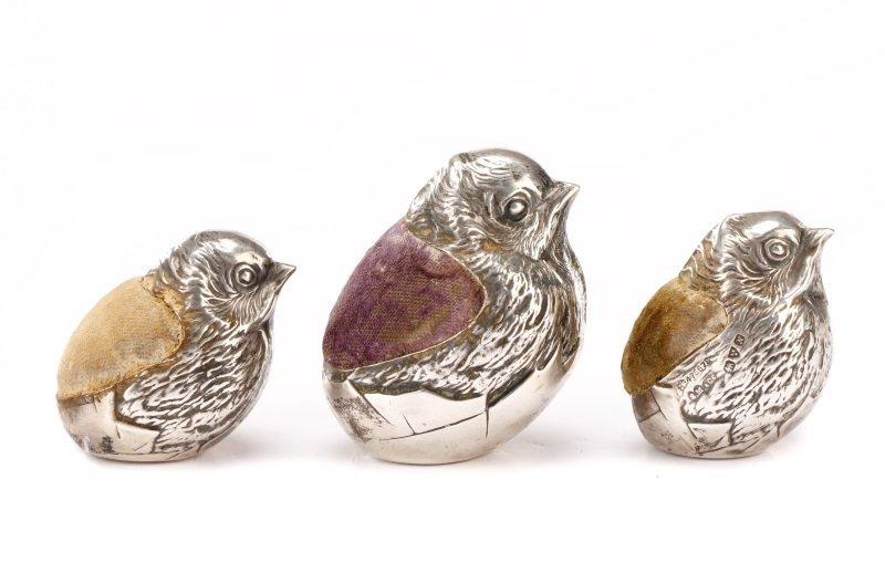 3 Sterling Silver Chick Pincushions Sampson Mordan
