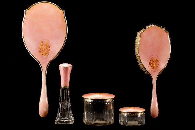 5 PC Pink Guilloche Dressing Set, Christie's
