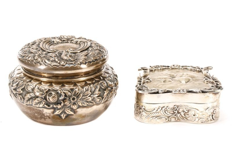 Two Sterling Silver Dresser Boxes: Gorham & Comyns