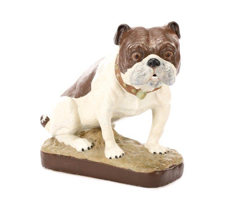 Polychrome Chalkware Bulldog with Studded Collar