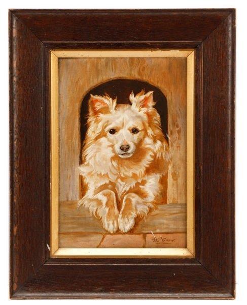 """British School, """"White Terrier"""", Oil on Canvas"""
