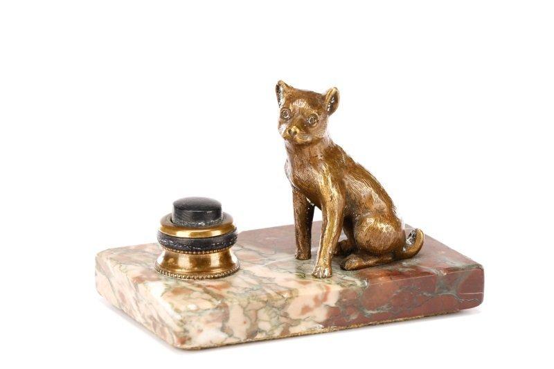 Continental Bronze Servant Bell, Dog Motif