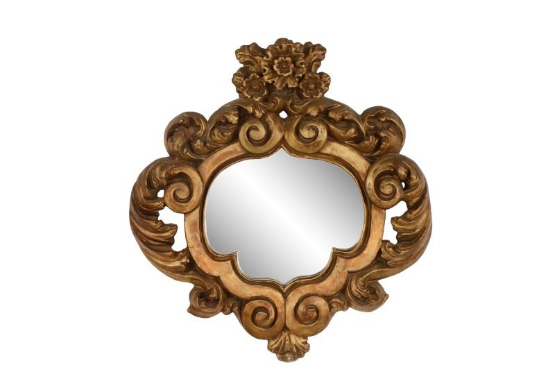 Carved and Giltwood Acanthine Wall Mirror