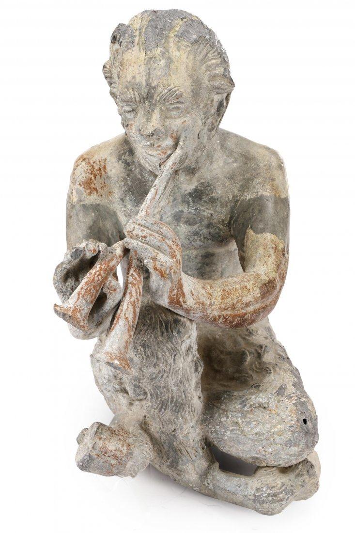 "Lead Garden Sculpture, ""Pan with Flute"""