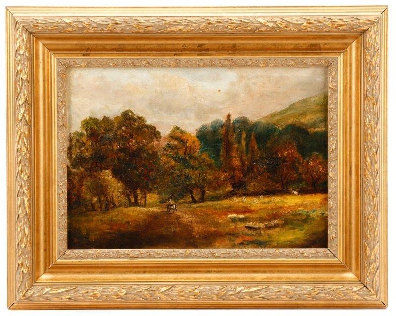 "British School, ""Landscape with Hay Cart"", Oil"