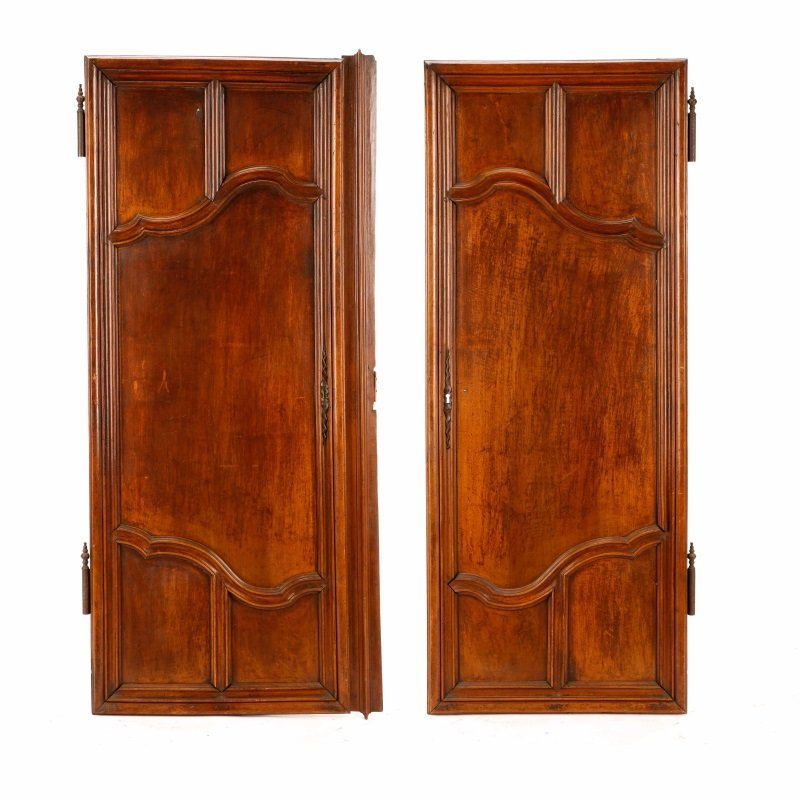 Pair, French Hand Carved Armoire Doors, 19 C.