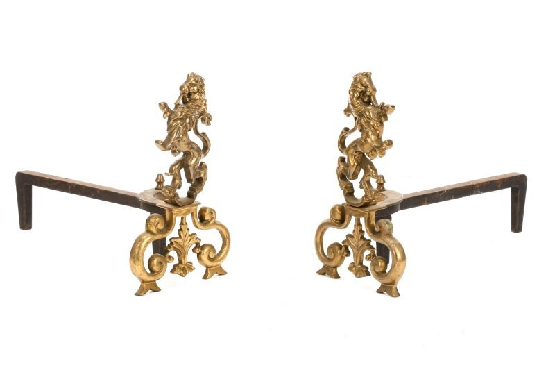 Pair, French Cast Brass Rampant Lion Andirons