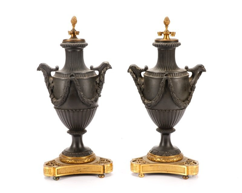 Pair, Empire Style Gilt & Patinated Metal Urns