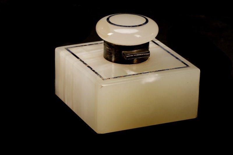 English White Onyx, Sterling, Lapis Lazuli Inkwell - 2
