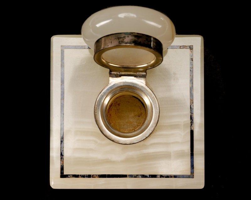 English White Onyx, Sterling, Lapis Lazuli Inkwell - 3