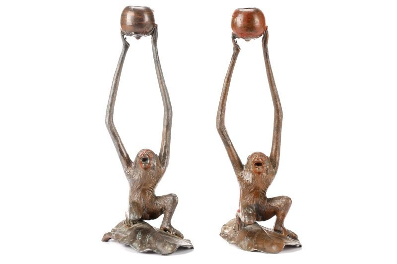Pair, Bronzed Metal Figural Monkey Candlesticks