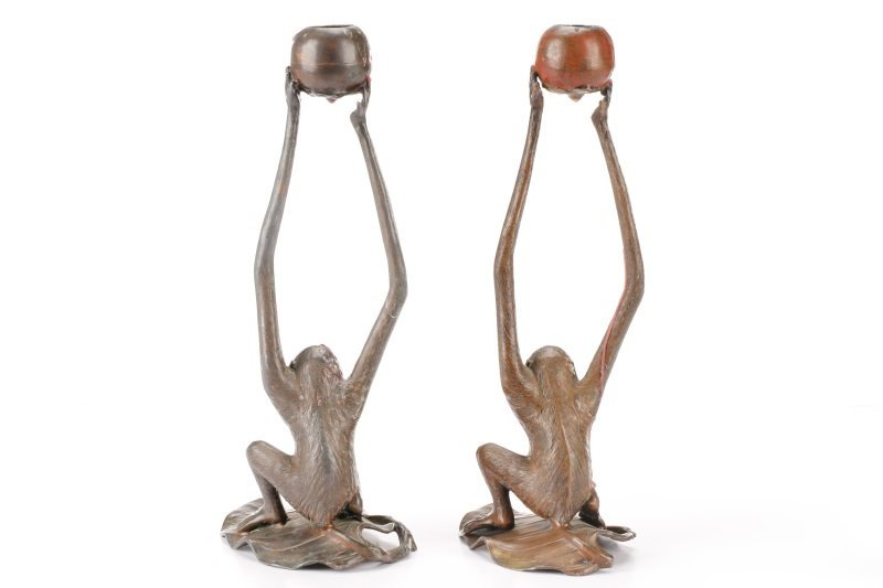 Pair, Bronzed Metal Figural Monkey Candlesticks - 6