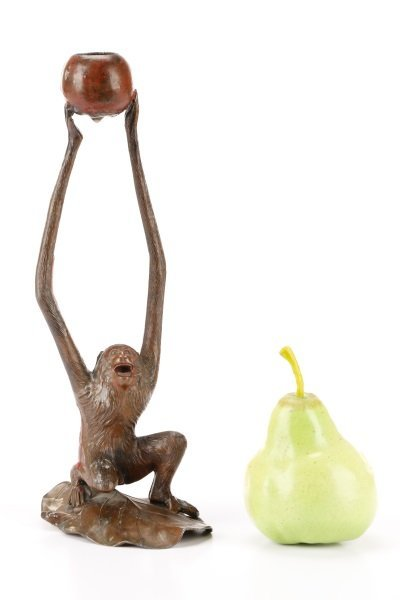 Pair, Bronzed Metal Figural Monkey Candlesticks - 9
