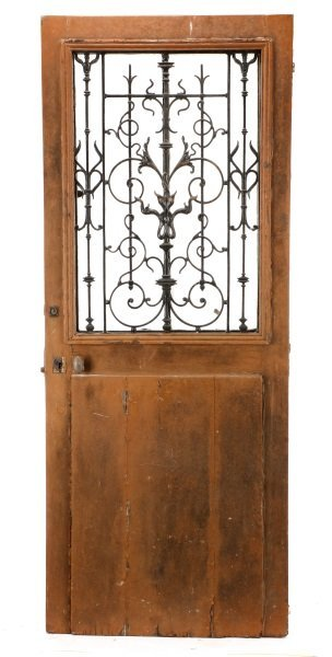 French Painted Wood and Wrought Iron Door, 19 C.