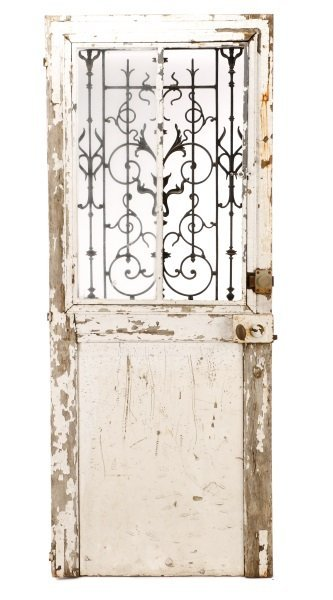 French Painted Wood and Wrought Iron Door, 19 C. - 7