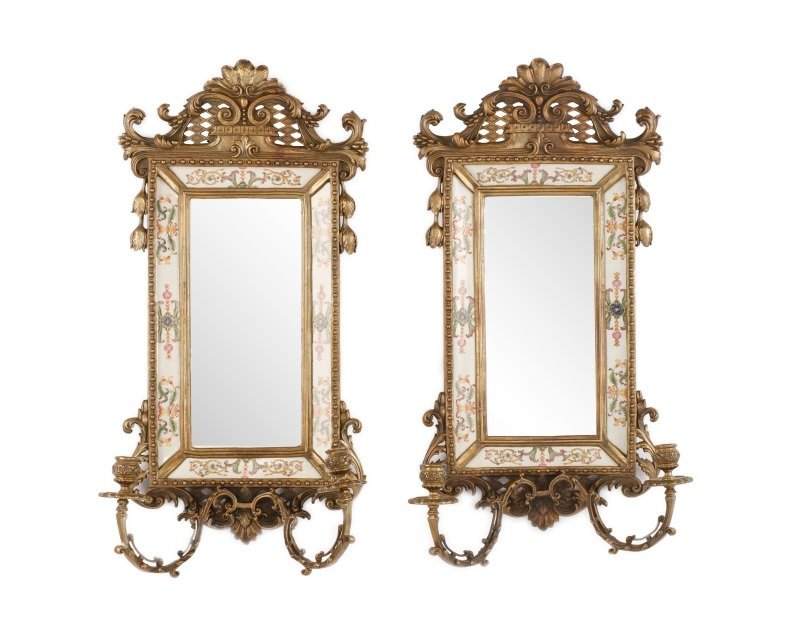 Pair of French Bronze & Porcelain Mirrored Sconces