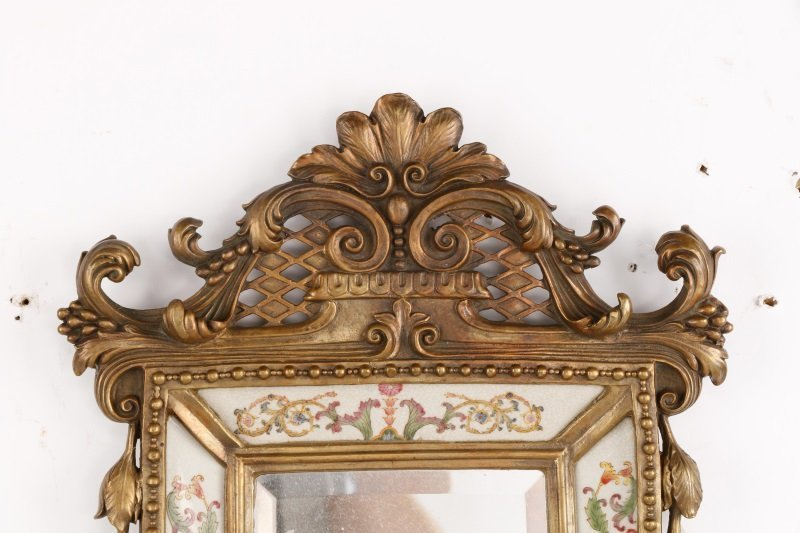 Pair of French Bronze & Porcelain Mirrored Sconces - 2