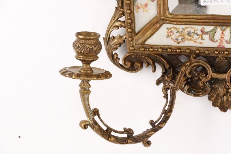Pair of French Bronze & Porcelain Mirrored Sconces - 3