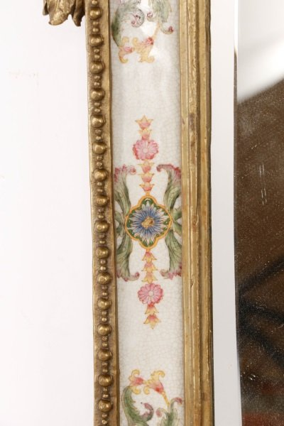 Pair of French Bronze & Porcelain Mirrored Sconces - 5