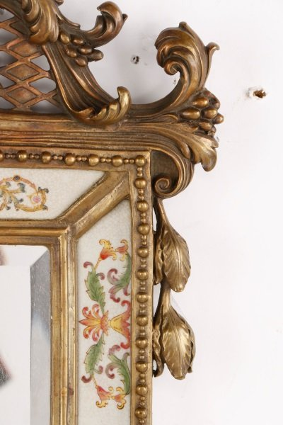 Pair of French Bronze & Porcelain Mirrored Sconces - 6