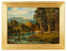 "British School, ""Still River in Autumn"", Signed"