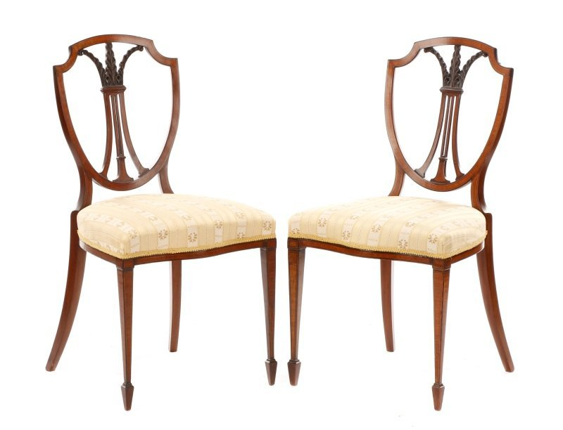 Pair, Period Signed Hepplewhite Style Side Chairs