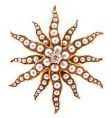 14k Gold Pearl  Diamond Brooch Late 19th C