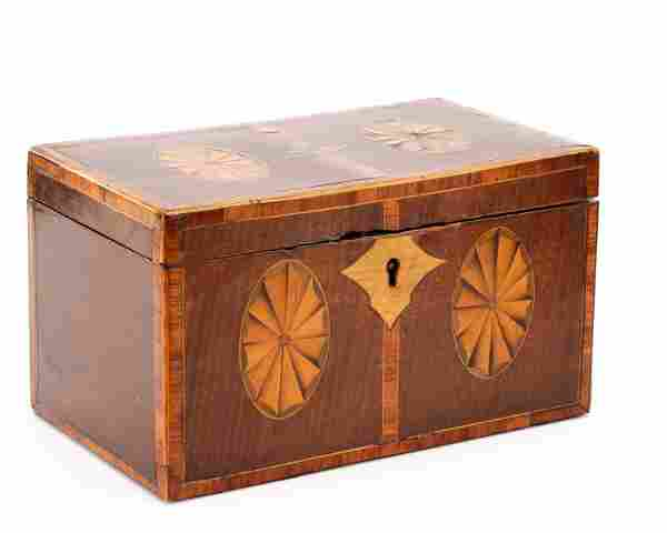 19th C. George III Marquetry Inlaid Tea Caddy