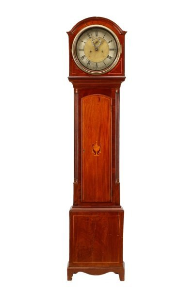 English Mahogany Inlaid 8 Day Tall Case Clock