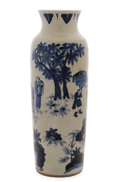 Chinese Porcelain Sleeve Vase with Figural Scene
