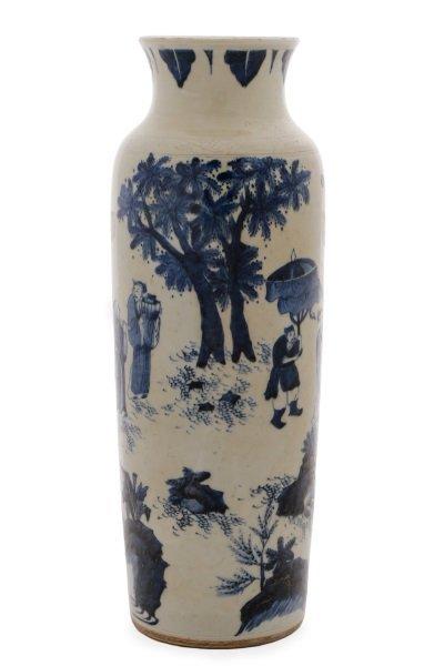 Chinese Porcelain Sleeve Vase with Figural Scene