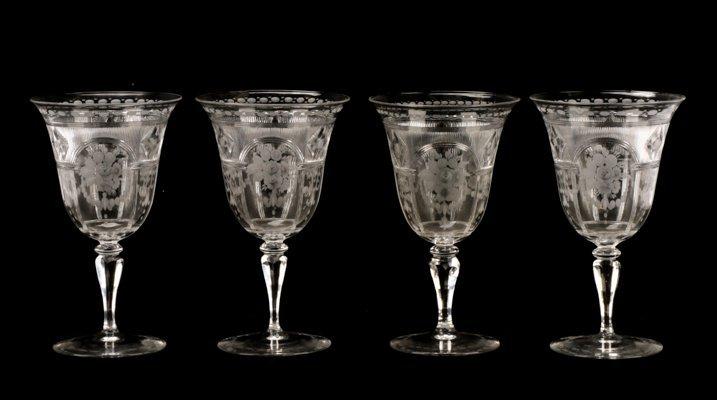 Set H. P. Sinclaire & Company Etched Glass Goblets