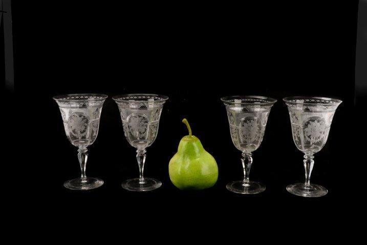 Set H. P. Sinclaire & Company Etched Glass Goblets - 6