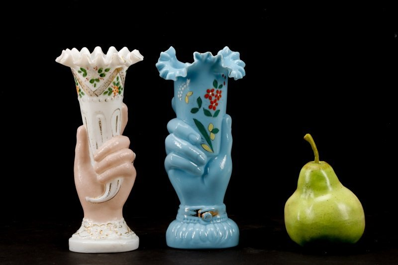 Collection of 2 Bohemian Blown Glass Hand Vases - 10