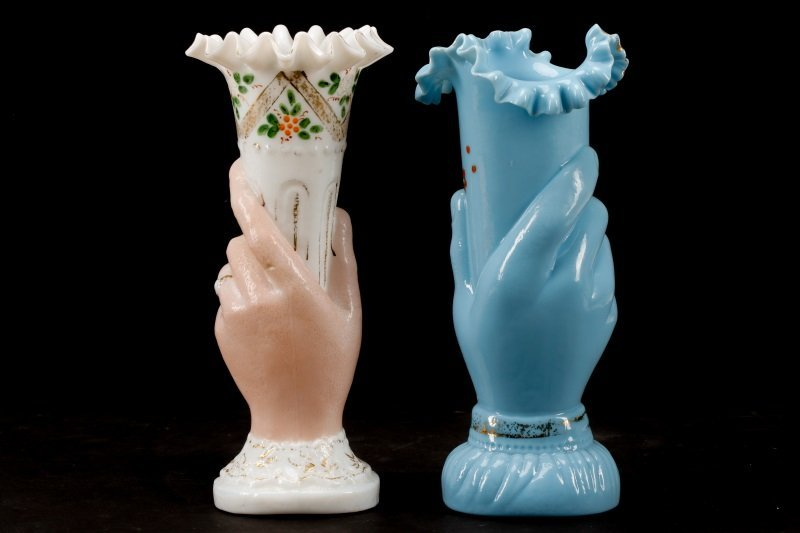 Collection of 2 Bohemian Blown Glass Hand Vases - 7