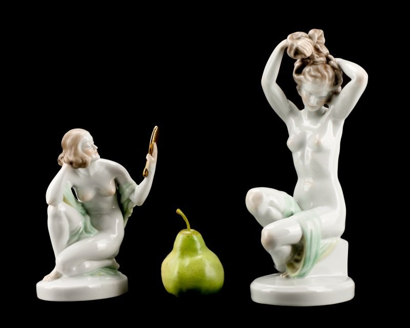 Group of Two Herend Porcelain Figurines, Marked - 10