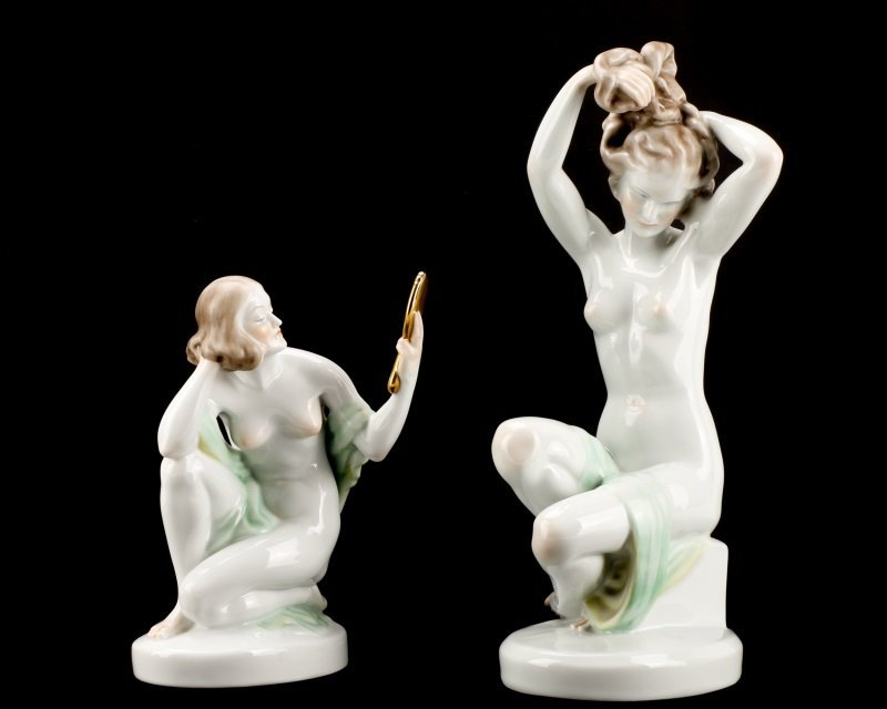 Group of Two Herend Porcelain Figurines, Marked