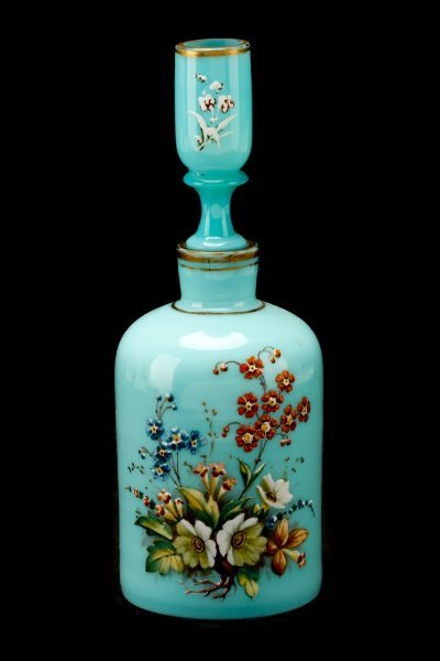 Victorian Blue Bristol Opaline Glass Vanity Bottle