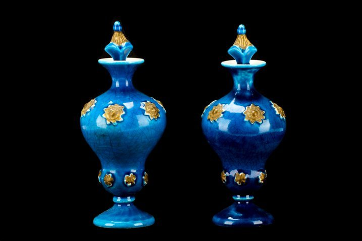 Pair of Continental Porcelain Blue Glazed Bottles