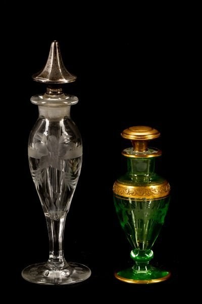 Two American Glass Perfume Scent Bottle Droppers