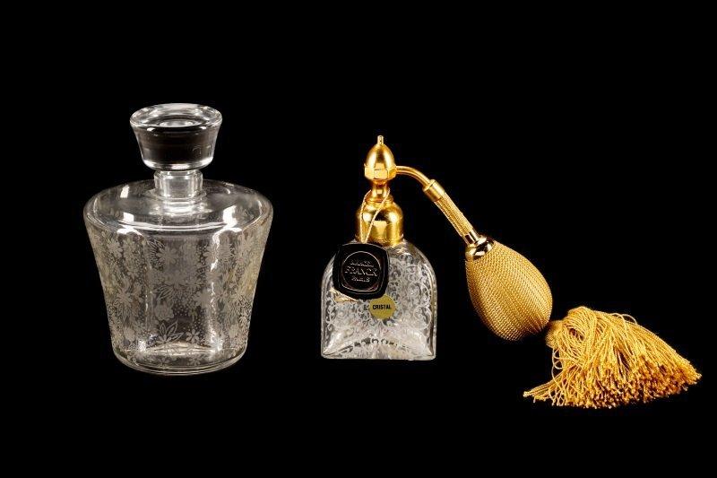 2 Baccarat Floral Etched Crystal Perfume Bottles