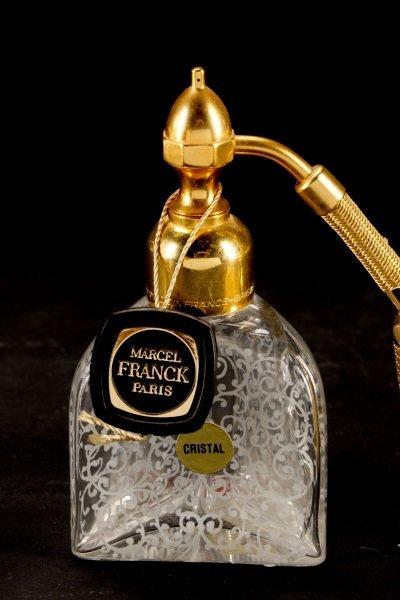 2 Baccarat Floral Etched Crystal Perfume Bottles - 5