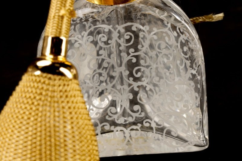 2 Baccarat Floral Etched Crystal Perfume Bottles - 7