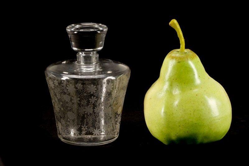 2 Baccarat Floral Etched Crystal Perfume Bottles - 9