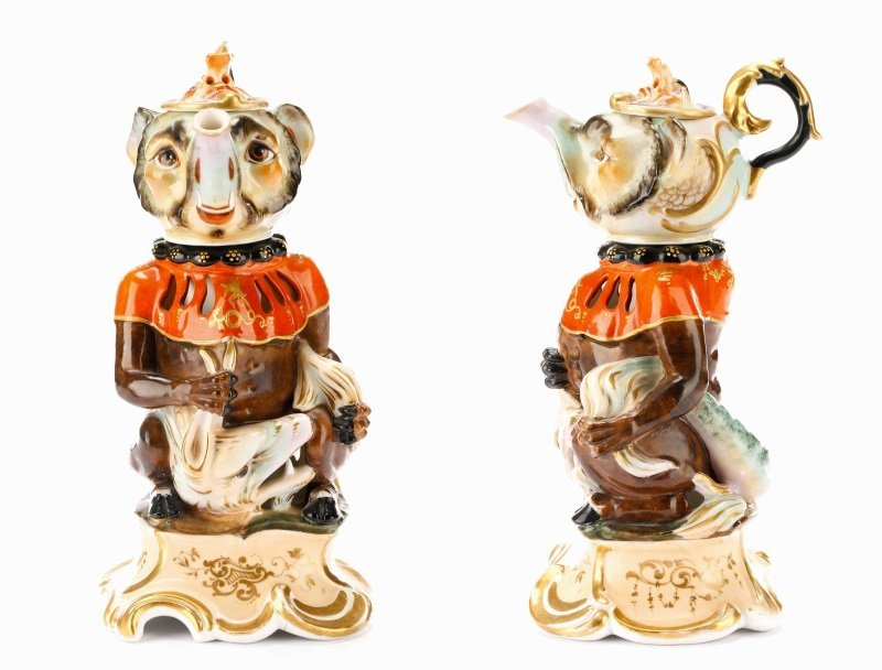 Unusual Four-Piece Figural Teapot on Stand