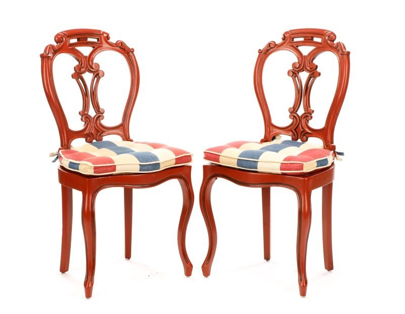 Pair, Lacquered Rococo Revival Style Side Chairs
