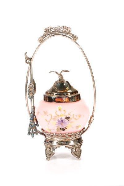 Victorian Silver & Pink Satin Glass Pickle Castor